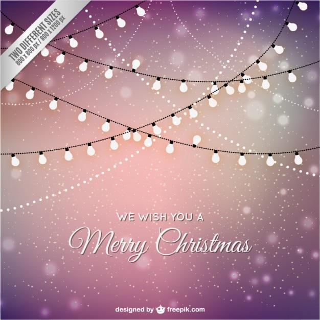 Рождественская открытка с огнями Premium векторы