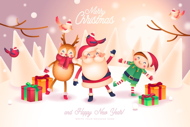 Christmas card with lovely santa and friends characters Free Vector