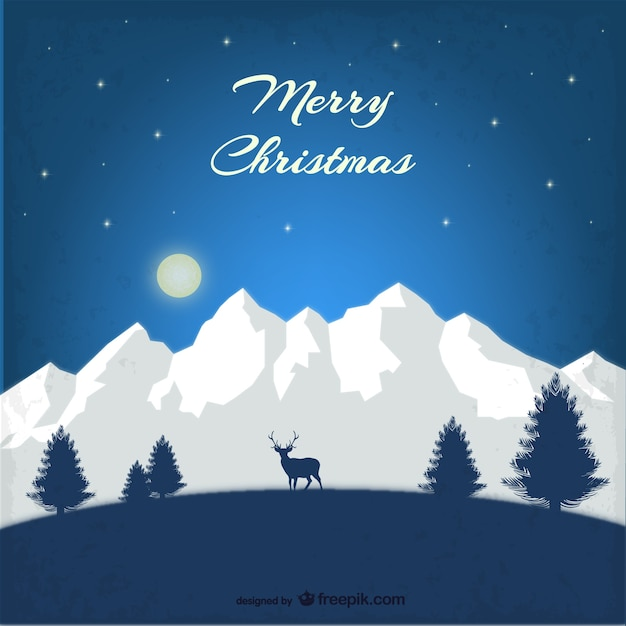 Mountain Christmas Cards.Christmas Card With Mountains Vector Free Download