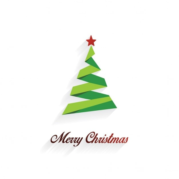 Christmas card with origami tree Free Vector