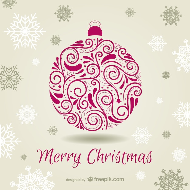 Christmas card with ornamental bauble