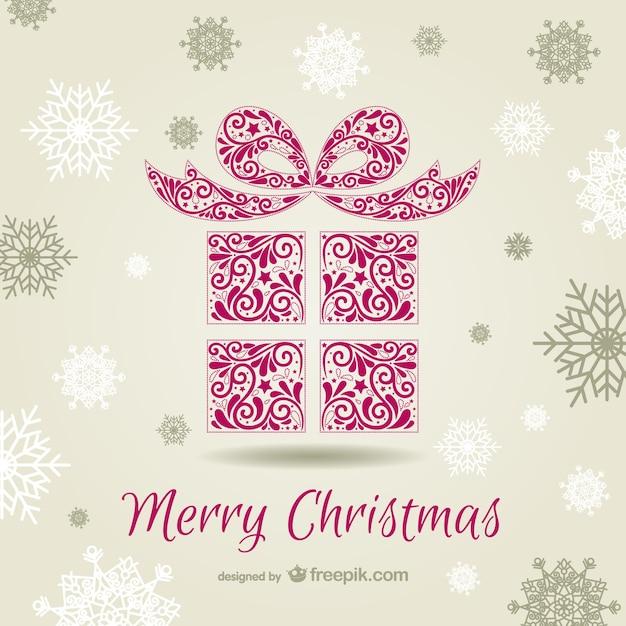 Christmas card with ornamental gift box