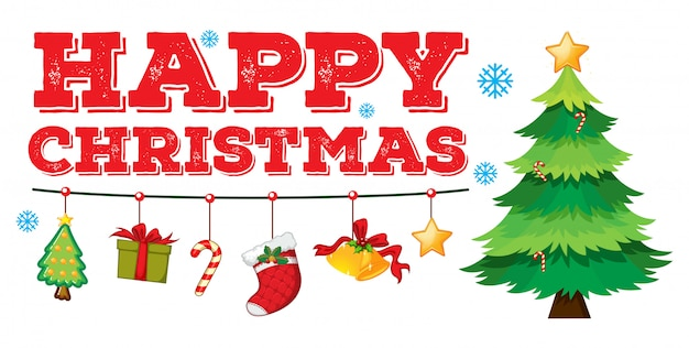 Christmas card with ornaments and tree Free Vector