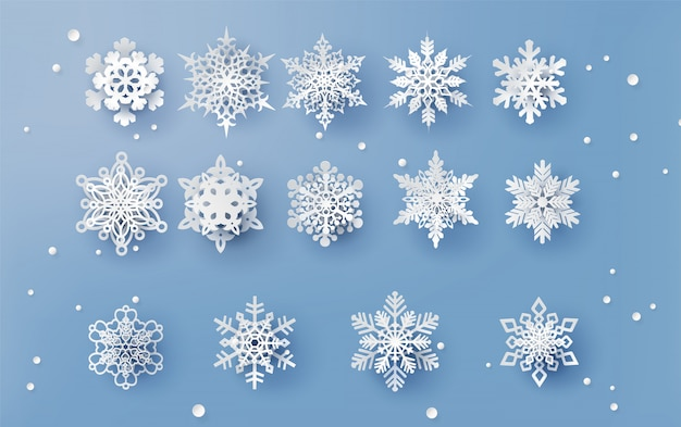 Christmas card with paper cut  snow flake Premium Vector