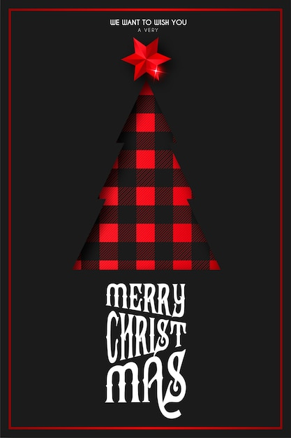 Christmas card with papercut tree in tartan pattern Free Vector