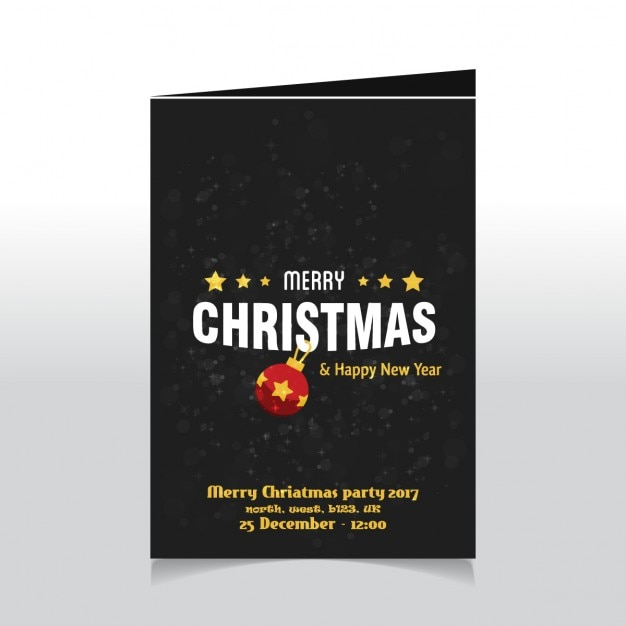 Christmas card with red ball and stars Free Vector