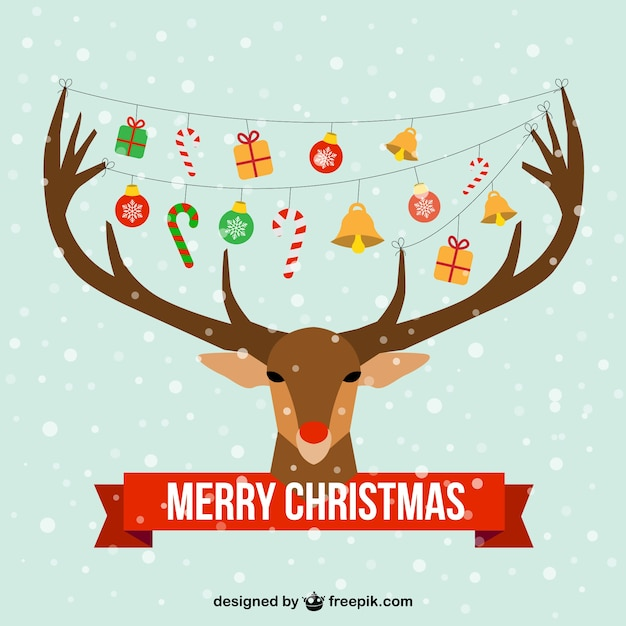 Christmas card with reindeer head Vector | Free Download