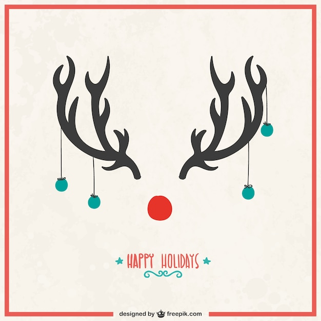 Christmas card with reindeer horns Vector | Free Download