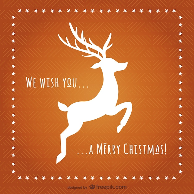 Christmas card with reindeer silhouette Vector | Free Download