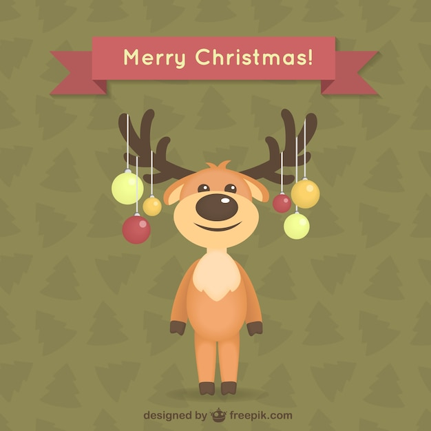 Christmas card with reindeer Free Vector