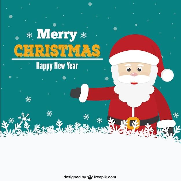 christmas card with santa cartoon free vector - Cartoon Christmas Cards