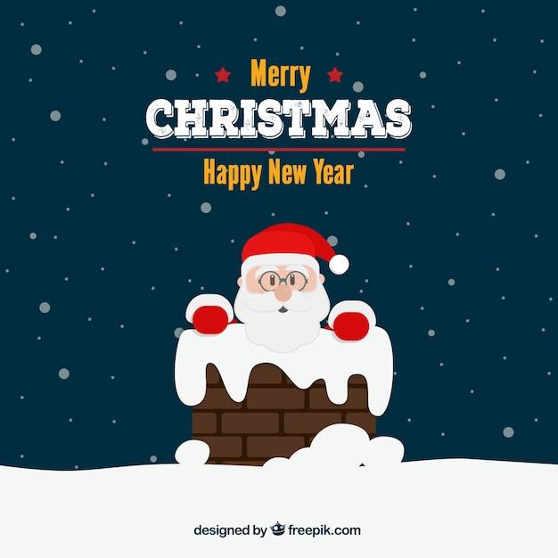 Christmas card with santa and chimney Free Vector