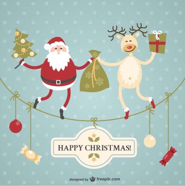 Christmas card with Santa Claus and reindeer Vector | Free ...
