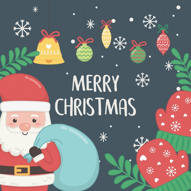 Christmas card with santa claus and balls hanging Premium Vector