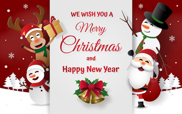 Christmas card with santa claus and friends Premium Vector