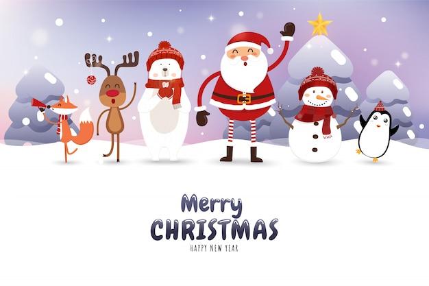 Christmas card with santa claus, polar bear, snowman, reindeer, fox and penguin. Premium Vector