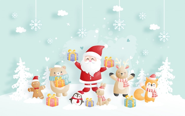 Christmas card with santa and friends. Premium Vector