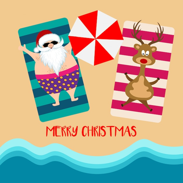 Christmas card with santa and reindeer at beach Premium Vector