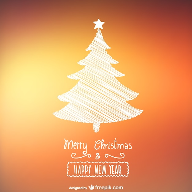 Christmas card with sketchy tree Free Vector