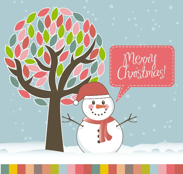 Christmas card with snowan and tree vector illustration Premium Vector