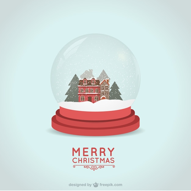 christmas card with snowball vector premium download