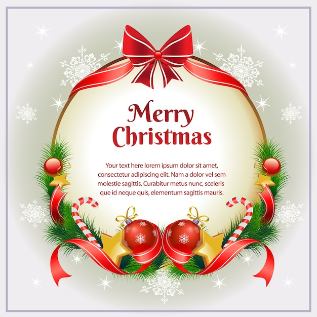 christmas card with sweet bow vector premium download