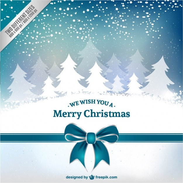 Christmas card with white trees Free Vector