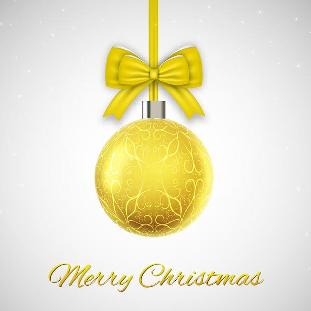 黄色のクリスマスボールとクリスマスカード 無料ベクター
