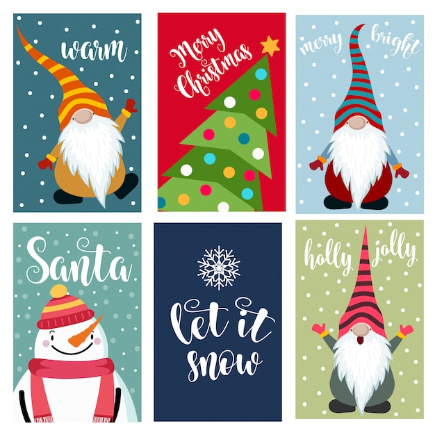Christmas cards collection Premium Vector