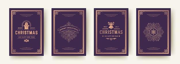 クリスマスカードは、ヴィンテージの活版印刷のqoutesイラストを設定します。冬の休日の願いと華やかな装飾のシンボルが華やかな装飾の繁栄のフレーム。 Premiumベクター