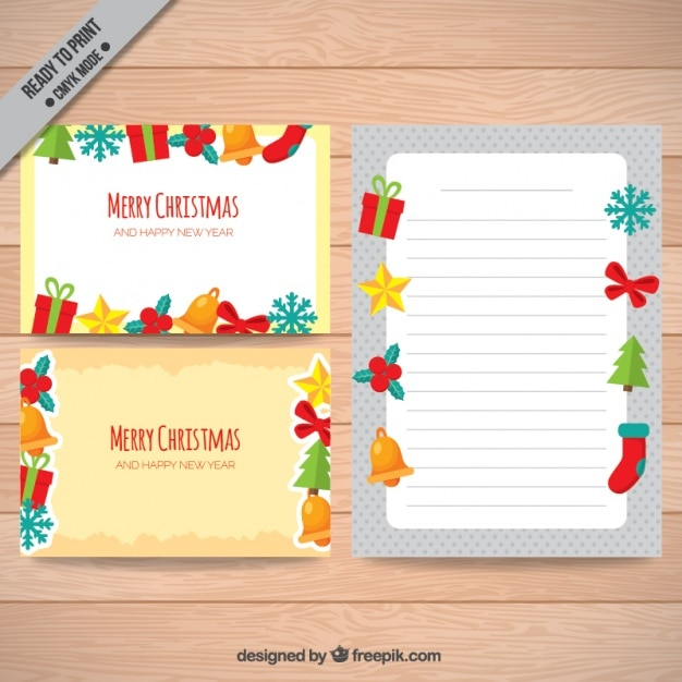Christmas cards with ornaments Free Vector
