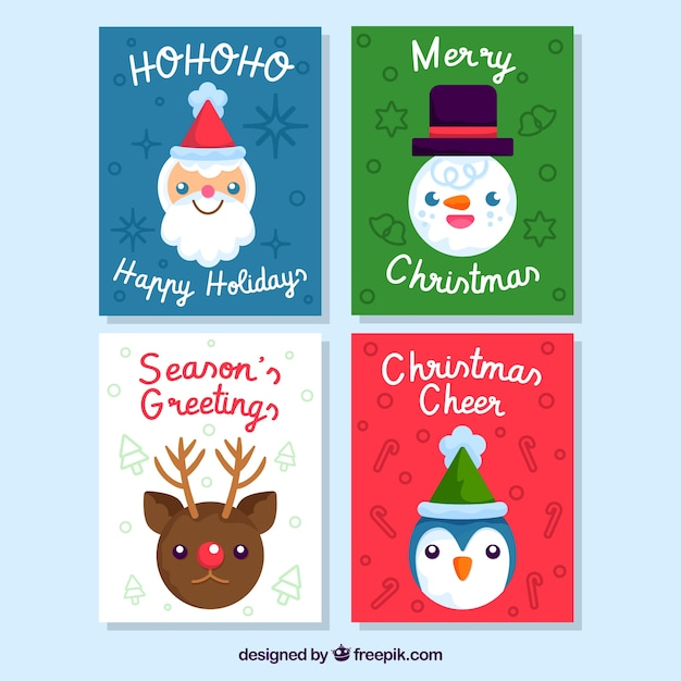 christmas cards with smiley faces free vector - Christmas Smiley Faces
