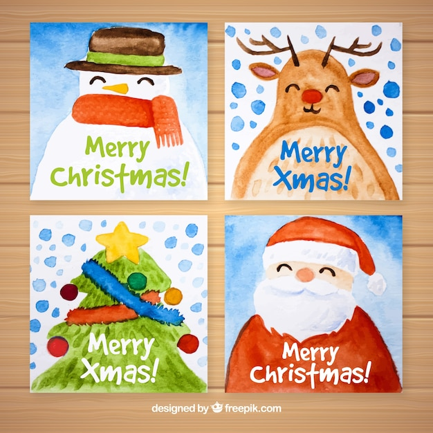 Christmas cards with watercolor characters