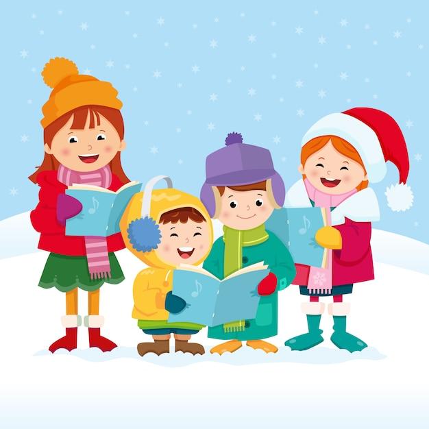 Рождественские певцы Premium векторы