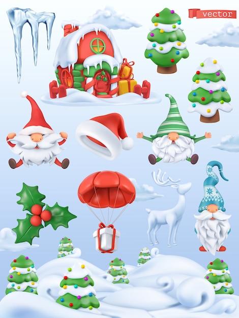 Рождественский мультфильм 3d вектор икона set. дед мороз, шапка санта-клауса, гномы, елка, подарок, сосулька, падуб, пряничный домик Premium векторы