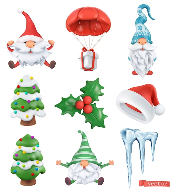 Рождественский мультфильм 3d вектор икона set. дед мороз, шапка санта-клауса, гномы, елка, подарок, сосулька, холли Premium векторы