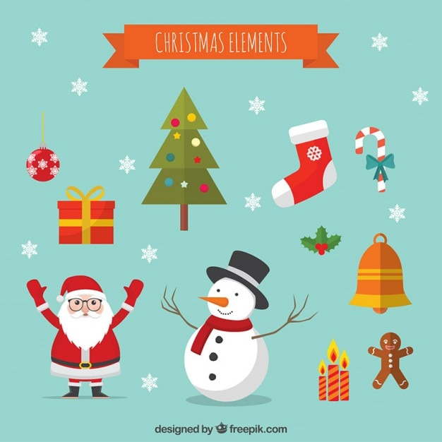 christmas cartoon decoration elements free vector - Christmas Cartoon Pictures