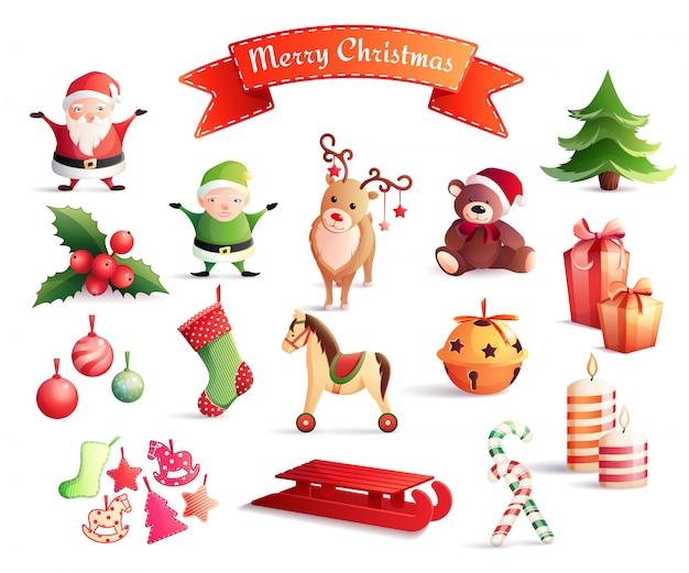 Christmas cartoon elements set Free Vector
