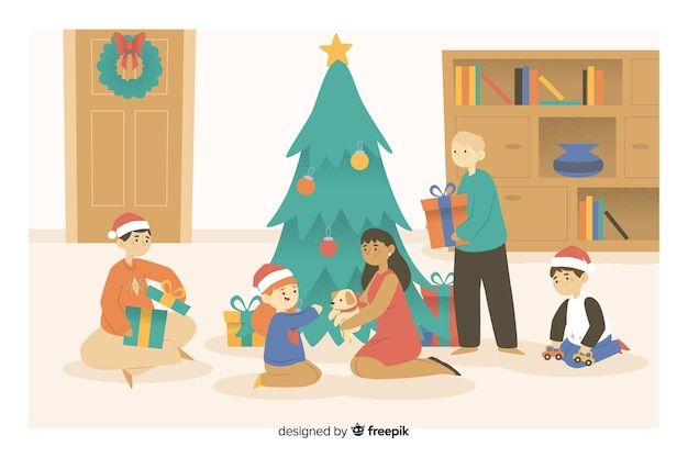 Christmas cartoon family opening gifts Free Vector