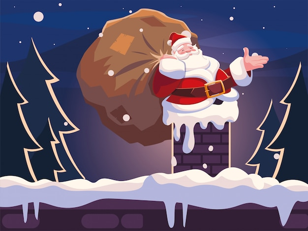 Christmas cartoon of santa claus entering the chimney Premium Vector