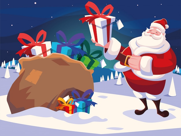 Christmas cartoon of santa claus with bag of gifts in winter landscape Premium Vector