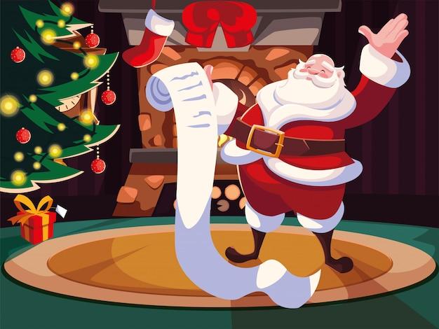 Christmas cartoon of santa claus with gift list Premium Vector