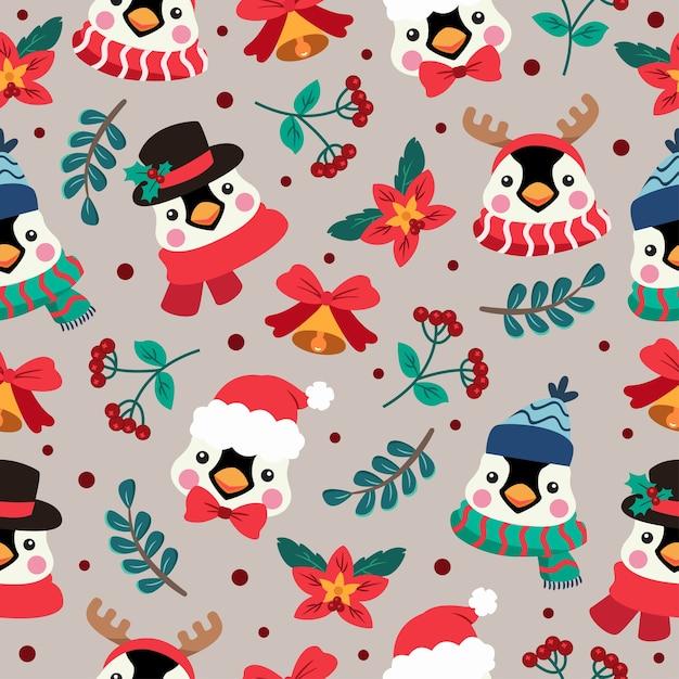 펭귄 크리스마스 만화 완벽 한 패턴 프리미엄 벡터