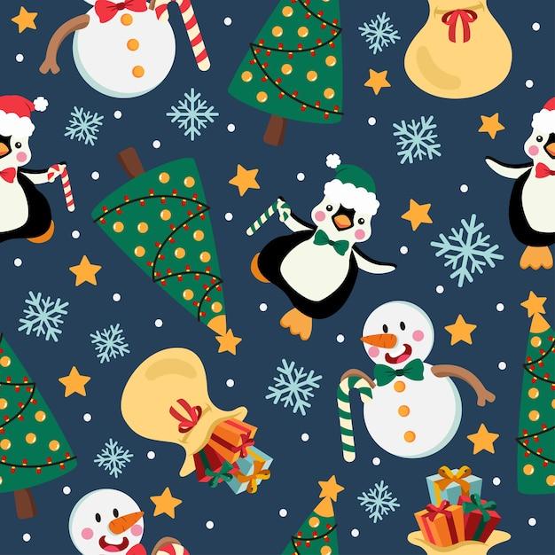 눈사람와 펭귄 크리스마스 만화 완벽 한 패턴 프리미엄 벡터