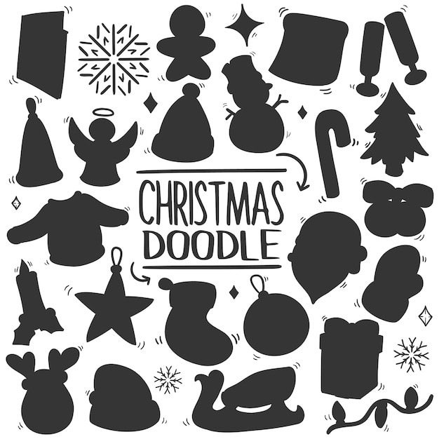 Christmas cartoon vector silhouette clip art Premium Vector