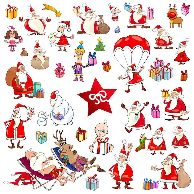 Christmas cartoons set | Premium Vector