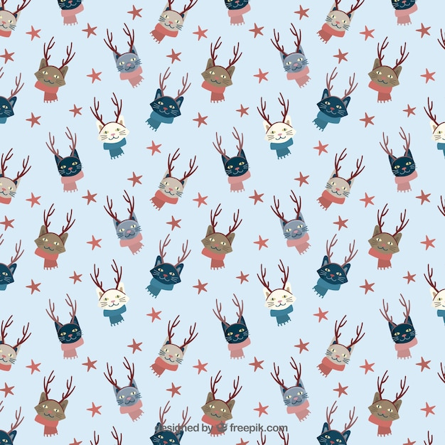 Christmas cats pattern Free Vector