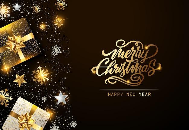 Рождественский праздник фон с подарками Premium векторы