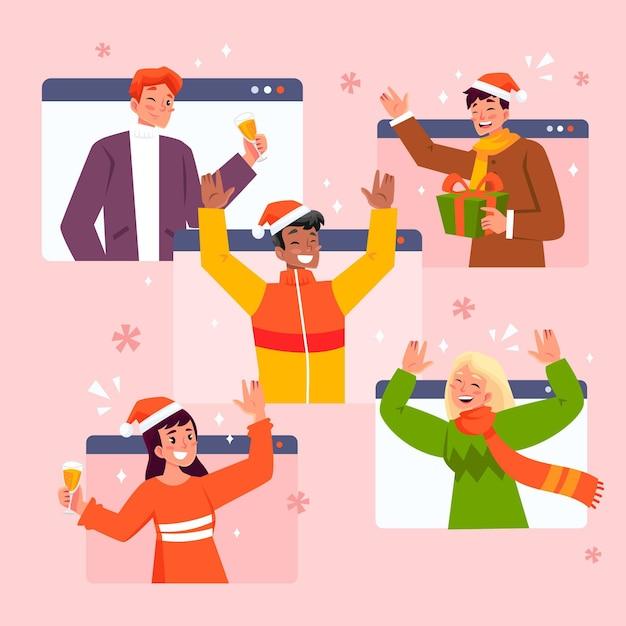 Celebrazione natalizia online a causa del coronavirus Vettore gratuito