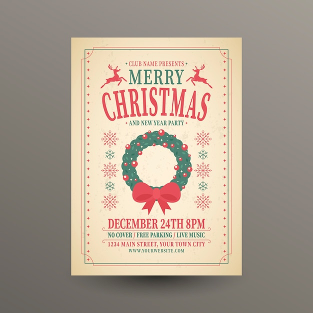 Christmas celebration template with lettering Free Vector